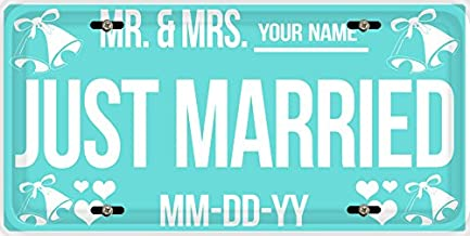 BleuReign(TM) Personalized Custom Name and Date Just Married Car Vehicle License Plate Auto Tag