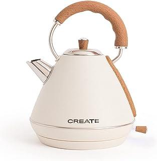 IKOHS KETTLE RETRO Elektrische waterkoker, 1,7 liter, BPA-vrij, roestvrij staal, 2.200 W, snelle montage, automatische uit...