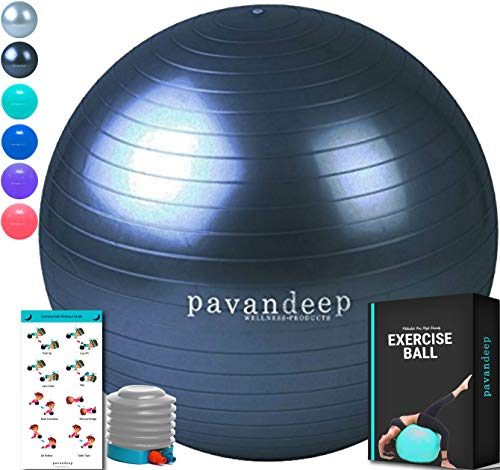 Exercise Ball by Pavandeep for Flexible Seating 2000lbs Anti Burst Stability Balls for Fitness Pilates Yoga Gym, Use As Desk Chair, Pump Included, Phthalate Free