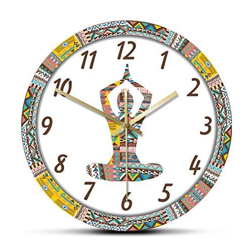 xinxin Reloj de Pared Yoga Mujer con patrón Decorativo étnico Movimiento silencioso Reloj de Pared Mandala Meditación Deporte Reloj Colgante de Pared de acrílico Grande