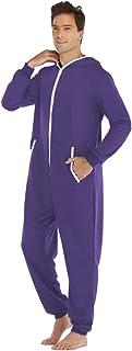 Ketamyy Mens Hooded Onesie Pajamas Solid Color Casual Zip Long Sleeve Jumpsuit Adult One Piece Pajamas Winter Autumn Comfo...