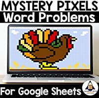 Mystery Pixels- Thanksgiving Multiplication Word Problem Activity Google Sheets™ for 3rd and 4th Grade
