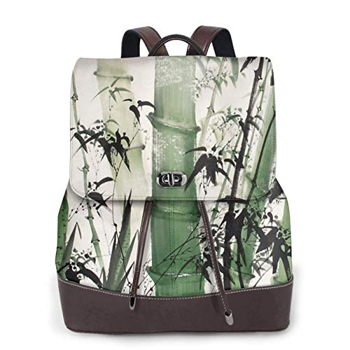 Women'S Leather Backpack,Chinese Painting Of Bamboo Print Women'S Leather Backpack