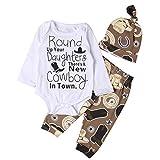 Newborn Baby Boys Clothes Cowboy Long Sleeve Letters Deer Romper Bodysuit+Long Pants+Hat Outfit 3Pcs Set 0-18M (3-6 Months, Brown-Cowboy)