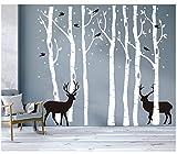 BDECOLL grand arbre généalogique et les cerfs et les oiseaux Stickers muraux Décalcomanie murale Pour la salle de séjour pour bébé (blanc)