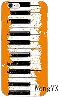 Orange Black Piano Pattern Galaxy S7 Edge Case White Music Theme I Phone Cover Keyboards Italian Organ Musical Orchestra Classic Italy Instrument Cellphone Protector, Plastic