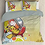 Elxmzwlob Anime Poke-mon Detective Pikachu Duvet Cover Set, Breathable, Hypoallergenic Soft Comfy Breathable Fade, Decorative 2 Piece Bedding Set with 1 Pillow Sham, Queen Full Twin Size