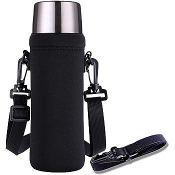 TENSIK 水筒カバー 携帯式ボトルカバー 1L用 ボトルバッグ 水筒ケース ボトルカバー ストラップ 断熱 ベルト調節でき ブラック