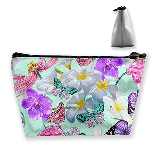 Womena € s Cosmetic Bag Butterflies Tropical Orchid Makeup Bag Portable Toiletry Pouch Storage Pouch