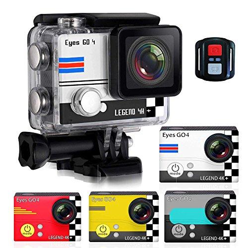"""(Camera sport 4K) EYES GO 4+® + Kit 32 accessoires 20 MP Marque Française + Montre connecté Camera Etanche 45M LCD 2"""" 4 Coques Édition S"""