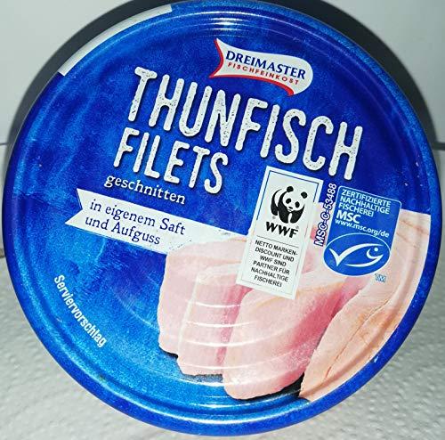 Dreimaster - Thunfisch-Filets geschnitten, in eigenem Saft und Aufguss,2 x195gr Dosen