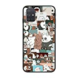 Lightweight Smooth Black Matte Soft TPU Slim Case Silicone Cover for Samsung Galaxy A51-Cartoon We Bare-Bears 7