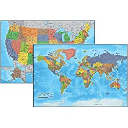 Laminated United States USA and World Map Poster. 24X36 Detailed 3D Durable Up to Date. Great for Classroom, Teacher, Student, Home, Business, History. US Maps Wall Poster Chart.