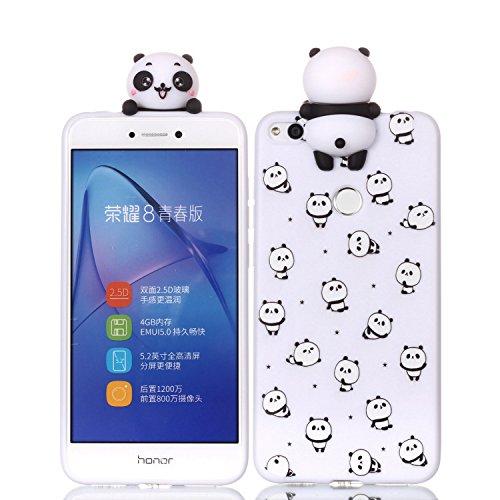 HUDDU Huawei P8 Lite 2017 Xmas Hülle, Weiß Huawei P8 Lite 2017 Handyhülle Transparente Weihnachten Schutzhülle TPU Silikon Cover Dünn Protective Case 3D Karikatur Muster Christmas - Panda