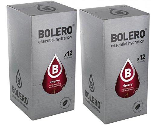 Bolero Drink Instant Drink Cherry - sachet de 24 x 9 g - chaque sachet suffit pour 1,5 litre - 2,5 litres de boisson prête à boire - sans sucre ni gaz carbonique - sans aspartame - sucré avec Stevia