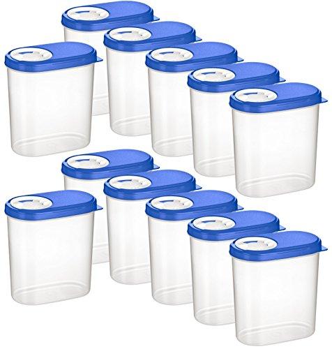 Kigima Gewürzdosen Schüttdosen Streudosen Vorratsdosen 0,30l 12er Set blau