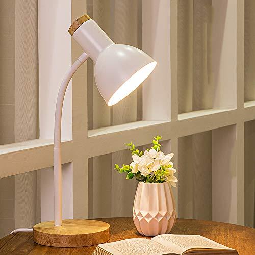 Chao Zan Einfache Nordische Tischlampe, Augenschutz-Schreibtischlampe, E27 Dekorationsleuchte, Schlafzimmer-Leselampe,Arbeitslampe, Bürolampe, Nachttischlampe,Lernlampe,(Weiß)