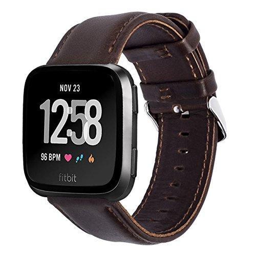 KADES Compatibile per Fitbit Versa Cinturino, Cinturino in Vera Pelle con Perno a sgancio rapido Compatibile per Fitbit Versa 2 Cinturino, per Fitbit Versa Lite Edition Cinturino, caffè
