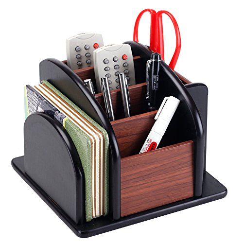 6Compartment Wood Rotating Remote Caddy/Desktop Office Supply Organizer Holder