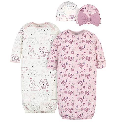 Gerber Baby Girls' 4-Piece Organic Gown and Cap Set, Pink Fox, 0-6 Months