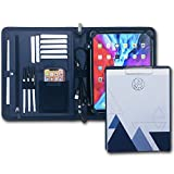 UNIMIRA Zippered Leather Portfolio Padfolio, Navy Blue, Business Case Organizer for Ipad 11-12.9, Letter Notepad Binder, Men and Women, Business, iPad Sleeve for Travelling (iPad 12.9-2018-2021)
