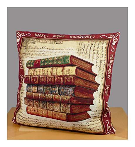 atelier alles-Spitze Gobelin-Kissenhülle Antike Bücher 45 x 45 cm Dekokissen Kissenbezug Zierkissen Sofakissen