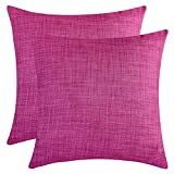 The White Petals Magenta Throw Pillow Covers - Luxurious, Elegant & Decorative (18x18 inch, Pack of 2)