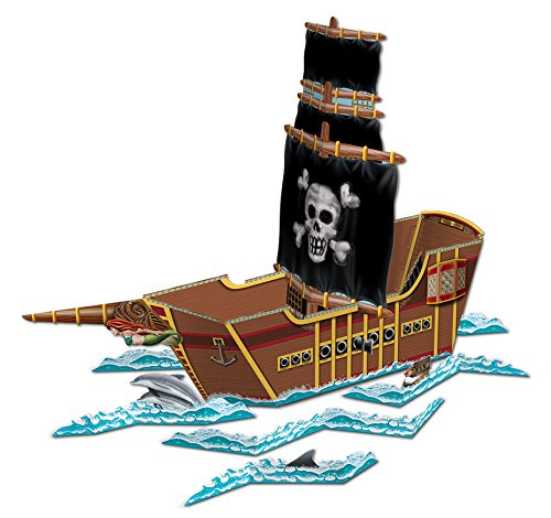 Beistle 54597 Pirate Ship Centerpiece, 18-1/2-Inch by 26-Inch