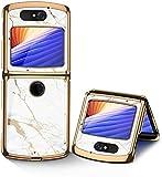 GKK Luxury Phone Cover for Motorola Razr 5G 2020, 360 Phone Case Glass Protective Back Cover for Motorola Razr 2020 5G Plate, Plexiglass Fold Case, Hard Anti-Knock Protection (Gold Line White)