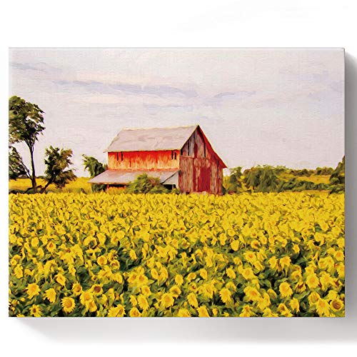 Paint by Number Kit DIY Oil Painting for Adults Kids Farm Red Barn Sunflower Paintworks Canvas Wall Art Framed for Livingroom Bedroom Office Decor 16x20in