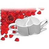Italy Masters Tazze a Forma di Cuore Che Si incastrano e abbracciano Tazza in Ceramica Manico Cuore Idea Regalo San Valentino E17