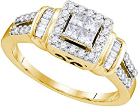 Jewels By Lux 10kt Yellow Gold Womens Princess Diamond Halo Bridal Wedding Engagement Ring 1/2 Cttw In Invisible Setting (I1-I2 clarity; H-I color)
