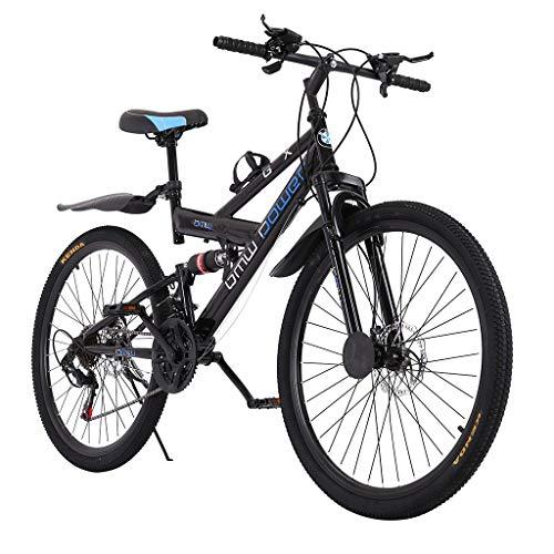 26in Carbon Steel Mountain Bike Shimanos 21 Speed Bicycle Full Suspension MTB (Black)