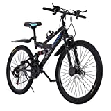 26in Carbon Steel Mountain Bike Shimanos 21 Speed Bicycle Full Suspension MTB (Black)
