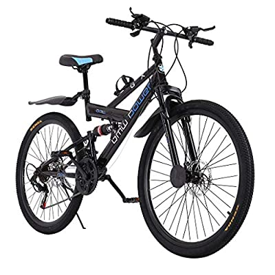 Mountain Bike, shiguyi 26 Inch Full Suspension 21 Speeds Shimano Drivetrain, Cross Country Race Trek Bycicles w/Disc Brakes, Free Kickstand Included 700C, Fast Delivery [ USA in Stock ]