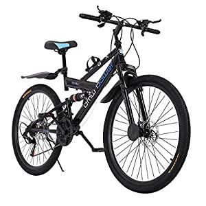 26in Carbon Steel Mountain Bike 21 Speed Bicycle Full Suspension MTB