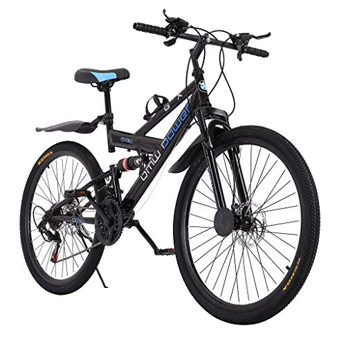 TOUNTLETS 26in Carbon Steel Mountain Bike,21Speed Bicycle,Full Suspension MTB,icycle Adult Student Outdoors Unisex Portable Folding Bike,Double Disc Brake Outroad Mountain Bicycles