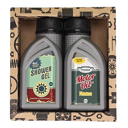Lustapotheke® Geschenkset für KfZ Mechaniker oder Hobby Schrauber - 2x Duschgel für Männer im Motoröl-Design 2 - Retro mit Namen