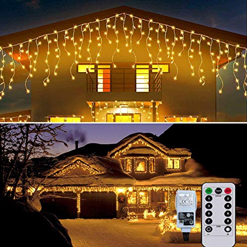 Outdoor Icicle Lights Mains Powered 10M 400LED Window Curtain Lights Fairy Lights Plug in Connectable 8 Modes for Home Garden Bedroom Indoor Outdoor Easter Decor(Warm White)