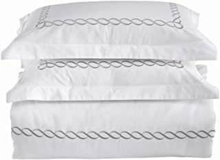 ECLEC 500-Thread-Count Premium Cotton Embroidery 3Pcs Duvet Cover Set, King Size, Long Staple Fine Cotton Sateen Weave - Luxury Embroidery – Silky Super Soft – White