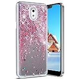 Coque Nokia 3,Étui Nokia 3 Coque Liquide de Flux Flowing,Luxe Shiny Glitter Brillant Diamant Cœur Étoiles Sparkles Transprent Hybrid Crystal Clear Souple Silicone Coque Housse,Rose