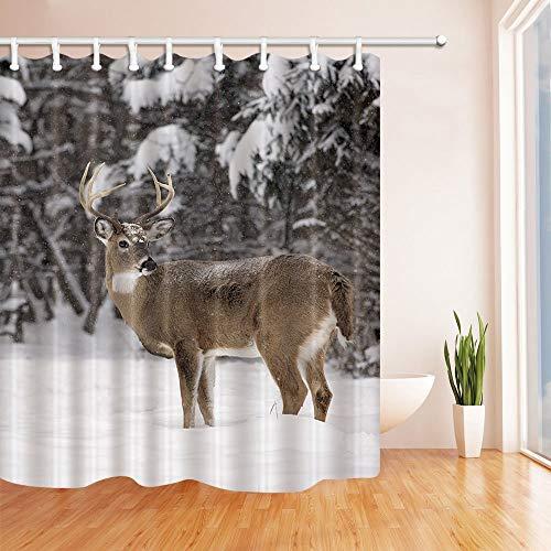 gwegvhvg Wilde Tiere Duschvorhänge für Bad White Tailed Deer Buck Steht in Winterlandschaft Bad Duschvorhang 180X180 cm
