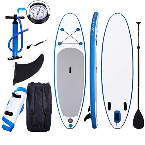 Tabla Paddle Surf Hinchable para Principiantes con Bomba de Acción Doble, Funda...
