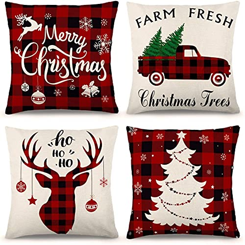 YGEOMER Christmas Pillow Covers 18x18 Inch Set of 4 Farmhouse Black and Red Buffalo Plaid Pillow Covers Holiday Rustic Linen Pillow Case for Sofa Couch Christmas Decorations Throw Pillow Covers