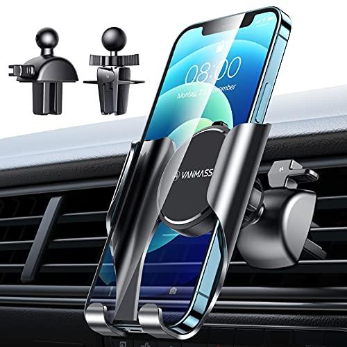 VANMASS Handyhalterung Auto Lüftung Autohalterung Federleichter Handyhalter Auto Handsfree Universal Kit mit 2 Upgrade Lüftungsclips Kfz Handyhalterung Für Alle Handys wie iPhone Samsung Huawei Nokia
