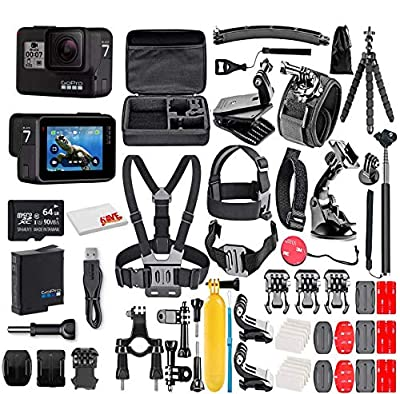 GoPro HERO7 Black - E-Commerce Packaging - Waterproof Action Camera with Touch Screen, 4K HD Video, 12MP Photos, Live Streaming and Stabilization - with 50 Piece Accessory Kit - Fully Loaded Bundle from GoPro