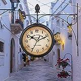 Jroyseter Reloj De Doble CaraReloj De Estación De Pared Instalación Impermeable Reloj De Aspecto Antiguo Colgante de Pared Decoración Interior y Exterior