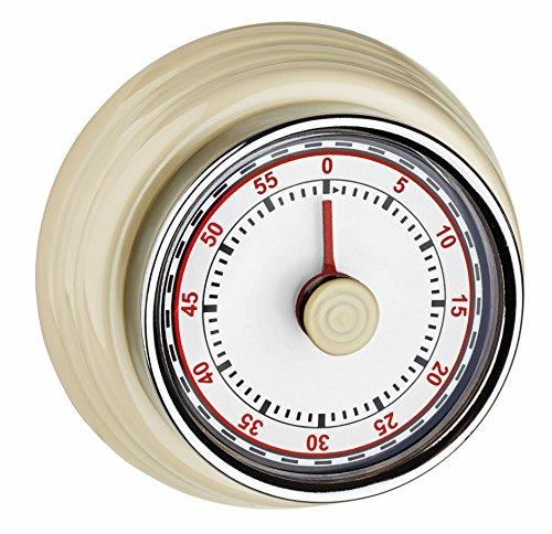 TFA Dostmann Küchen Timer, 38.1037.09, Eieruhr, mit Aufzugswerk, ohne Batterien, mit Alarm, Retro-Design, Beige