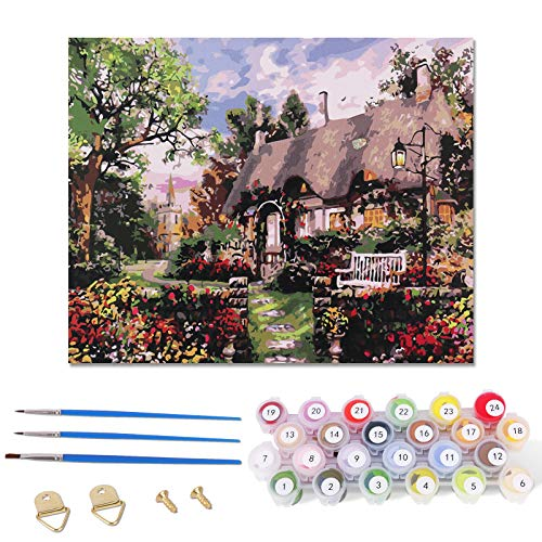 FORMIZON Pintar por Números, DIY Conjunto Completo de Pinturas, DIY Pintar por Numeros para Niños, Pintura por Números con Pinceles y Pinturas Decoraciones del Hogar (Casas)