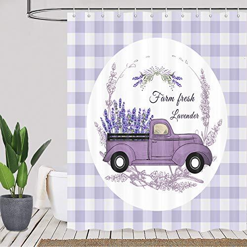 Purple Floal Farmhouse Duschvorhang, Lavendelblume auf Vintage Truck Buffalo Plaid Karo Duschvorhang-Set, lila Stoff Badezimmer Gardinen mit Duschhaken, wasserdicht 175,3 x 177,8 cm